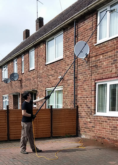 Pure water reach and wash pole system window cleaning for residential customers Kettering, Stamford and Corby